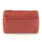 HGL Cosmetic Bag for Women Leather 11463 Zipper Zip Pocket Belt Loop Red