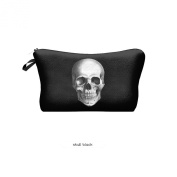 Travel Cosmetics Makeup Toiletry Bags Ladies Womens Beauty Holder Wash Handbag Storage Carry Case Portable Box Gift Skull Black