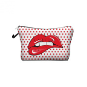 New Fashion Ladies Cosmetic Dop Lips Digital Print Makeup Zipper Pencil Case Bag