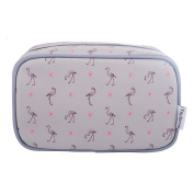 TaylorHe Make-up Bag Cosmetic Case Toiletry Bag Pencil Case Printed PVC zipped top Flamingo Pink Grey