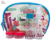Miss Gorgeous Travel Lovely Cosmetic Bag with 4 Empty Bottle Face Cream Bottle Spray Bottle
