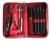 Clauss Manicure Case Real Leather Red
