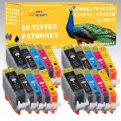 20 x INK CARTRIDGES FOR CANON PIXMA MP 550/MP 560/MP 620 PGI 520/CLI 521