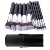 FiveBull 10Pcs Premium Synthetic Kabuki Makeup Brushes Set Cosmetics Foundation Blending Blush Eyeliner Face Powder Make Up Brush Kit with Black Leather Cylindrical Cup Holder Case
