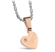 Stainless Steel Necklace Pendant Couple Heart Love Crystal Silver Gold Lead Free Nickel Free Jewellery