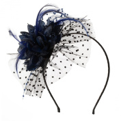 Gorgeous Attractive Headband, Flower with Feathers on a Net Setting for Weddings and Special Occasions.
