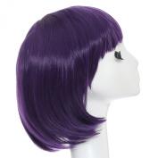 MOCOO High Quality Candy Colour Straight Flat Bangs Short Bob Hair Wig Fashion Ladies Cosplay /Party Costume Wig(Purple)JF002PR