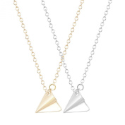 2PCS Fashion Triangle Necklace Golden Silver Origami Plane Necklace Harry Styles Statement Choker Collar Necklace