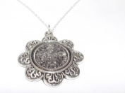 Floral Pendant 1966 Lucky sixpence 50th Birthday plus a Sterling Silver 46cm Chain
