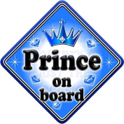 GEM JEWEL PRINCE Baby on Board Car Window Sign