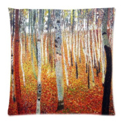 Custom Cotton & Polyester SoSquare ft Zippered Cushion Throw Case Pillow Case Cover 18X18 (Twin Sides) - Symbolon Painter Artist Gustav Klimt Painting Vintage Tree Dead Leaves Pillowcase