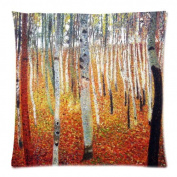 Custom Cotton & Polyester SoSquare ft Zippered Cushion Throw Case Pillow Case Cover 18X18 (Twin Sides) - Symbolon Painter Artist Gustav Klimt Painting Vintage Tree Dead Leaves Pillowcase