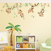 Decowall, DM-1507, Monkeys on Vine Wall Stickers,art stickers,vinyl,Nursery,Wall decals,Wall tattoos,Wall transfers