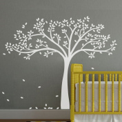 Monochromatic Fall Tree Extended Wall Decal Tree Wall Sticker Vinyl Tree Decal Nursery Wall Art Decoration White