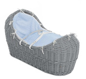 Luxury British Made Grey Wicker Izzy Pod Moses Basket With Blue Marshmallow Covers. Inc Blue Folding Stand