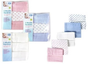 First Steps - Pack Of 3 Cotton Muslin Squares Multi Pupose Baby Cloths