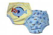 Little Fishey Training Pants - PACK OF 2 (Small, 0-1.5 years) Size 9.3-11kg Inner Waterproof Layer, 100% Cotton, Embroidered Detail, Blue & Yellow