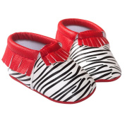 TANGDA Infant Baby Toddler Newborn Leather Soft Sole Tassel Pre-Walkers Shoes Moccasins Slip-on Crib Shoes Red Zebra Size 11