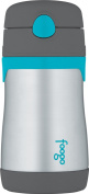 THERMOS FOOGO Vacuum Insulated Stainless Steel 300ml Straw Bottle, Charcoal/Teal