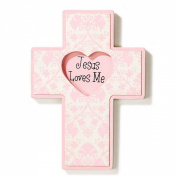 Dicksons Jesus Loves Me Wall Cross, Pink Heart