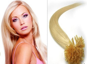 HairExtensionSale U Tip Fusion Pre Bonded Nail Tip Hair Extensions 18 inchRemy (Remi) Human Hair Extension#60 Platinum Blonde