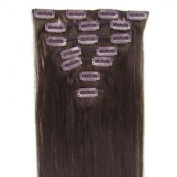"16 Inch (Col 2).Dark Brown Full Head 7 PCS Clip in Remy 100% Human Hair Extensions. 18""20""22""all colours 70g Weight"