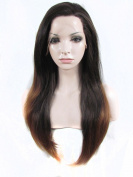 Imstyle Synthetic Lace Front Wigs Brown Ombre Honey Blonde Colour Silky Straight Hairstyle
