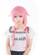 I-Cos Beauty Gasai Yuno Woman Long Pink Straight Cosplay Wig for Party free gift Wig cap