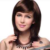 MISS20 Women's Medium Long Full Head Bob Wig With Inclined Fringe-Medium Brown