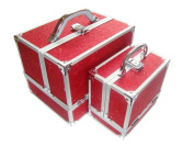 Sparkly Red 2 Piece Beauty Makeup Vanity Case Box Hair Nails Jewellery