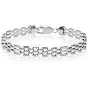 Citerna Sterling Silver 5 Row Rectangle Gate and Brick Link Panther Bracelet of Length 19.5cm
