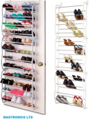 36 Pair Over The Door Hanging Shoe Rack Shelf Storage Stand Organiser Hook Holder