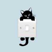 DIY Cute Black Cat Light Switch Wall Decal