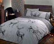 HIGHLAND STAG DUVET COVER - Cotton Rich Quilt Cover Scandinavian Bedding Bed Set Charcoal ( grey black ) King Size Duvet Cover