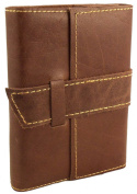 Rustic Ridge Distressed Leather Pocket Journal with Handmade Paper - 10cm x 13cm Pocket Size Travel Journal
