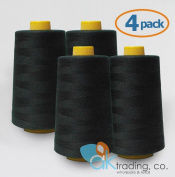 AK-Trading 4-Pack BLACK Serger Cone Thread (4000 yards each) of Polyester thread for Sewing, Quilting, Serger