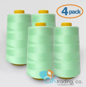 AK-Trading 4-Pack AQUA Serger Cone Thread (4000 yards each) of Polyester thread for Sewing, Quilting, Serger