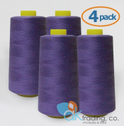 AK-Trading 4-Pack PURPLE Serger Cone Thread (4000 yards each) of Polyester thread for Sewing, Quilting, Serger