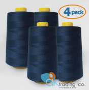 AK-Trading 4-Pack NAVY BLUE Serger Cone Thread (4000 yards each) of Polyester thread for Sewing, Quilting, Serger