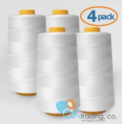 AK-Trading 4-Pack WHITE Serger Cone Thread (4000 yards each) of Polyester thread for Sewing, Quilting, Serger