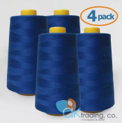 AK-Trading 4-Pack ROYAL BLUE Serger Cone Thread (4000 yards each) of Polyester thread for Sewing, Quilting, Serger
