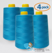 AK-Trading 4-Pack TURQUOISE Serger Cone Thread (4000 yards each) of Polyester thread for Sewing, Quilting, Serger