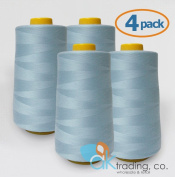 AK-Trading 4-Pack LIGHT BLUE Serger Cone Thread (4000 yards each) of Polyester thread for Sewing, Quilting, Serger