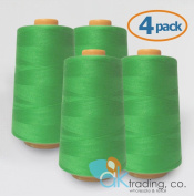 AK-Trading 4-Pack LIME GREEN Serger Cone Thread (4000 yards each) of Polyester thread for Sewing, Quilting, Serger