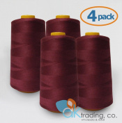 AK-Trading 4-Pack BURGUNDY Serger Cone Thread (4000 yards each) of Polyester thread for Sewing, Quilting, Serger