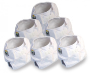 Real Nappies 6-Pack of Snug Wrap Prefold Nappy Covers, Infant Size, for babies 3 to 6 months, 5kg to 5kg