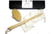 Body Brush for Dry Brushing - Natural Bristles with Long Handle - Improve Cellulite, Circulation, Lymphatic Function and Skin Tone - Luxury Spa Set with Free Bag and Gift Box
