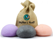 Organic Skin Care Exfoliating Konjac Sponge By Mother's Vault - All Natural Beauty Supply Prevents Breakouts While Exfoliating & Toning for a Better Complexion