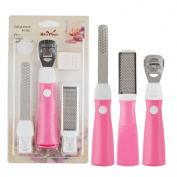 5 in 1 Professional Foot Calluses Remover & Rasp File Callus Corn Cuticle Cutter Remover Shaver Tool Pedicure Care Tool with 10 Blades Pink Colour