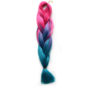 Abwin Peach Pink to Sky Blue Twist Hair Extension